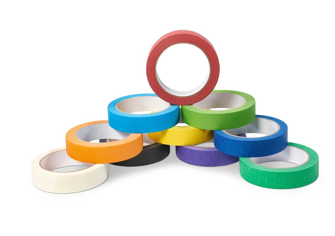 Waterproof Hot Melt Colored Masking Tape Rubber Adhesive For Home Painting